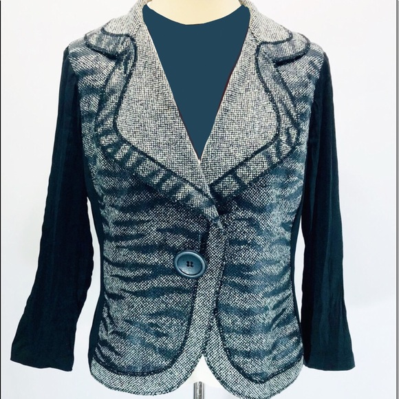 Alberto Makali Jackets & Blazers - Albert McKali XL Zebra Tweed Long Sleeve Jacket